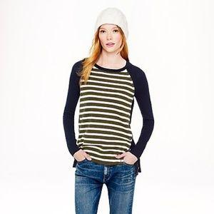 J. CREW Green Cream Navy Wool Side Button Sweater